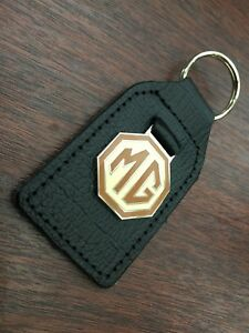 Mg  leather Key ring Octagon Design Enamel Infill On Metal Ingot Brown And Cream