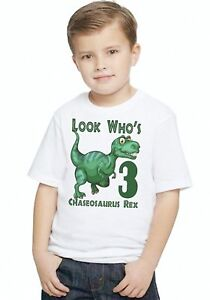 a38e026a8 Image is loading Dinosaur-REX-Dino-Boys-Personalized-Birthday-LOOK-WHO-