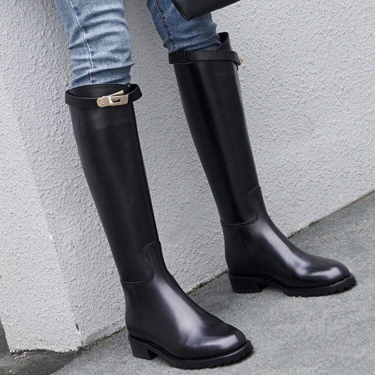 Mujer señoras de cuero plano elástico rodilla alta botas de montar invierno zapatos