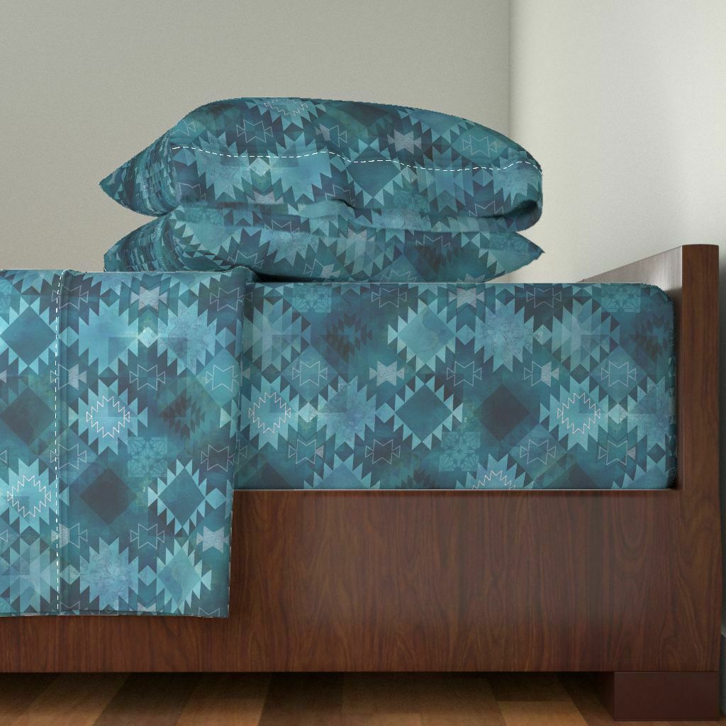 Tribal Bohemian Abstract Turquoise Boho 100% Cotton Sateen Sheet Set by Roostery