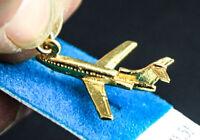 Vintage Plane Jet Dc9 Lear Pilot Sterling Silver W/ Gold Vermeil 3d Charm