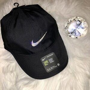 Bling Nike Hat w  Swarovski Crystal Swoosh BLACK FeatherLight Dri ... b275eea23ae7
