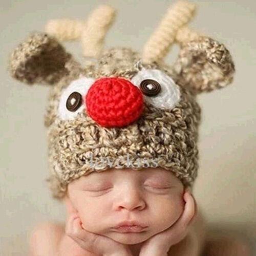 Christmas Hand-knitted Cute Kids Baby Cap Antler Crochet Hat Party Caps Elk