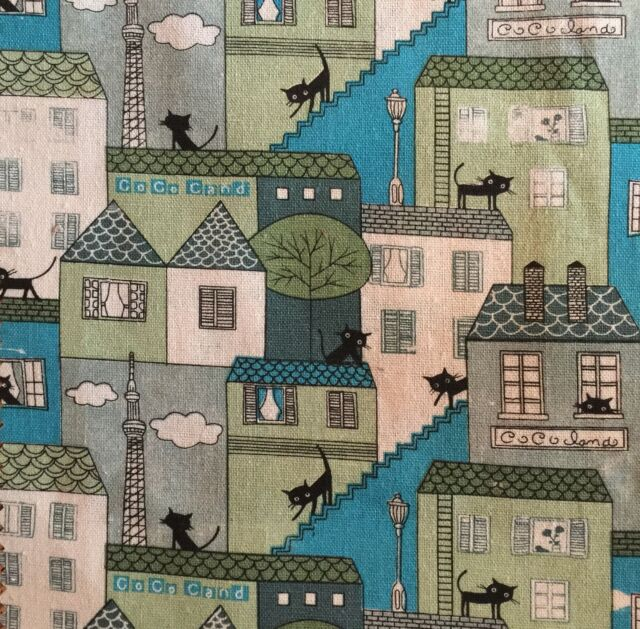 Printed Linen * 100% Pure Cotton  Cat House Turquoise 150cm wide  sold Per Metre