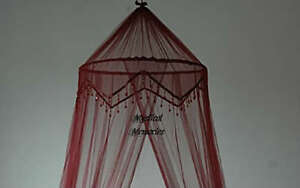 Dark-Red-Wine-Beaded-Mosquito-Net-Bed-Canopy-Fits-Sgle-Dble-Bed-New