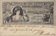 BRAZIL BANKNOTE 50 MIL REIS BILHETE POSTAL LIVRARIA ECONOMICA