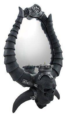 Demon-Horned Skulls Mirror With Tea Light Candle Holder