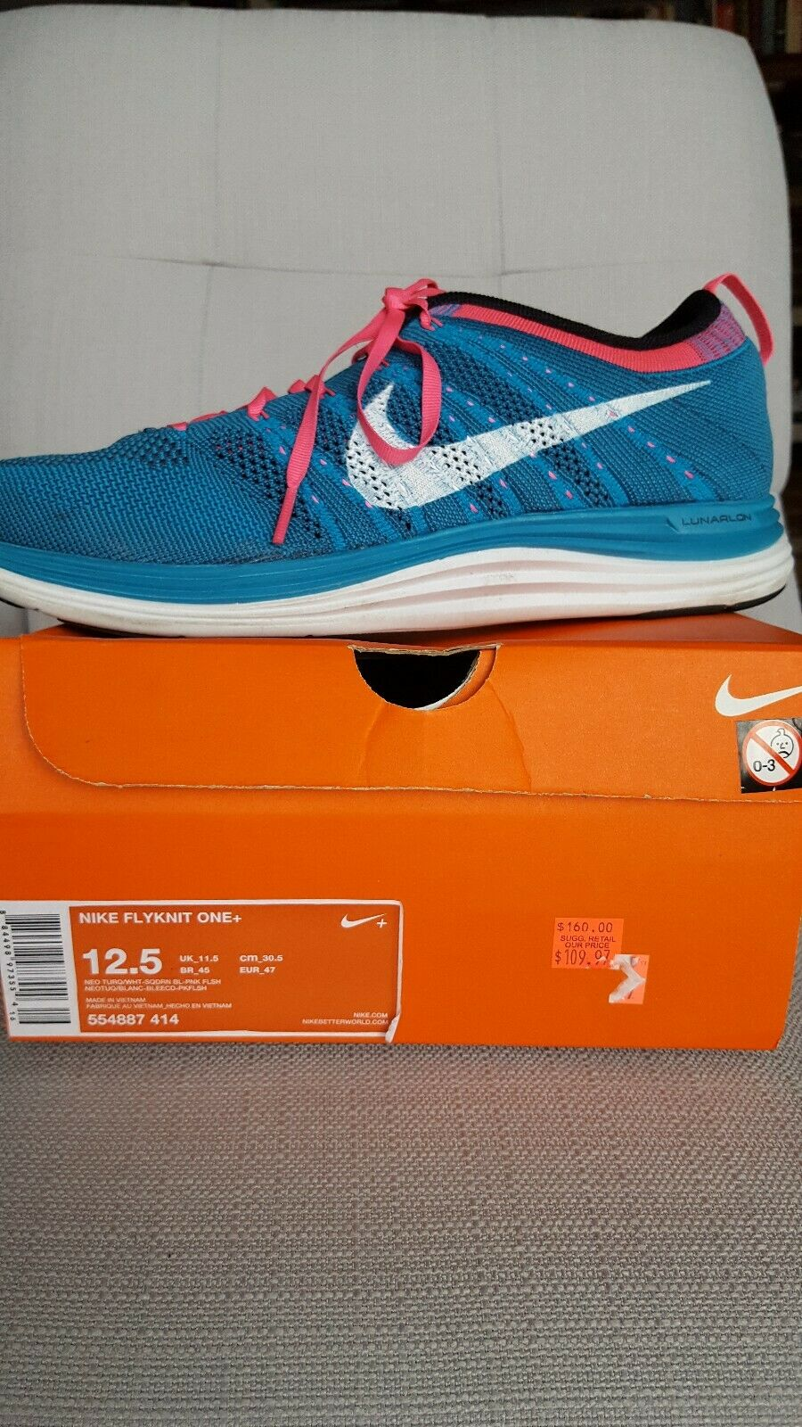 Men's NIKE  Flyknit One  Running shoes, Size 12.5, Neo Turquoise White Pink