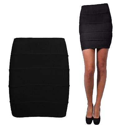 Herrlich Ladies Ribbed Zip Back Panel Bodycon Skirt Womens Black Stretchy Mini Skirt