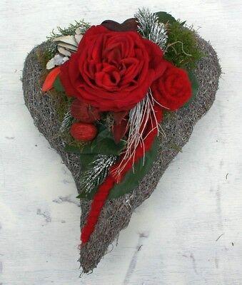 FRI-Collection Grabschmuck Grabgesteck Friedhof Gesteck Herz mit rote Rose 35 cm