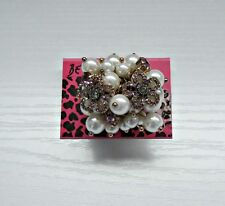 Betsey Johnson Purple Flower Cluster Pearl Stretch Ring