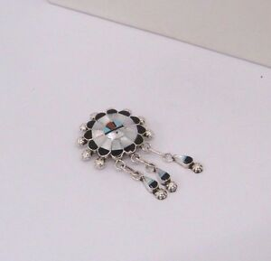 925 Sterling Silver Native American Zuni Inlay Signed Pin