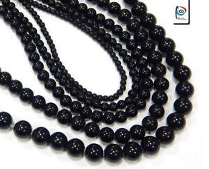 Perlenset-Schwarz-Onyx-Stein-4-6-8-10-12-mm-Halbedelstein-fuer-Armband-Kette-G95