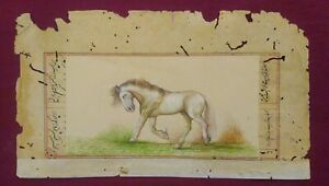 Hand-Painted-Horse-Art-Work-Old-Paper-Natural-Colors-Miniature-Fine-Paint-Rare