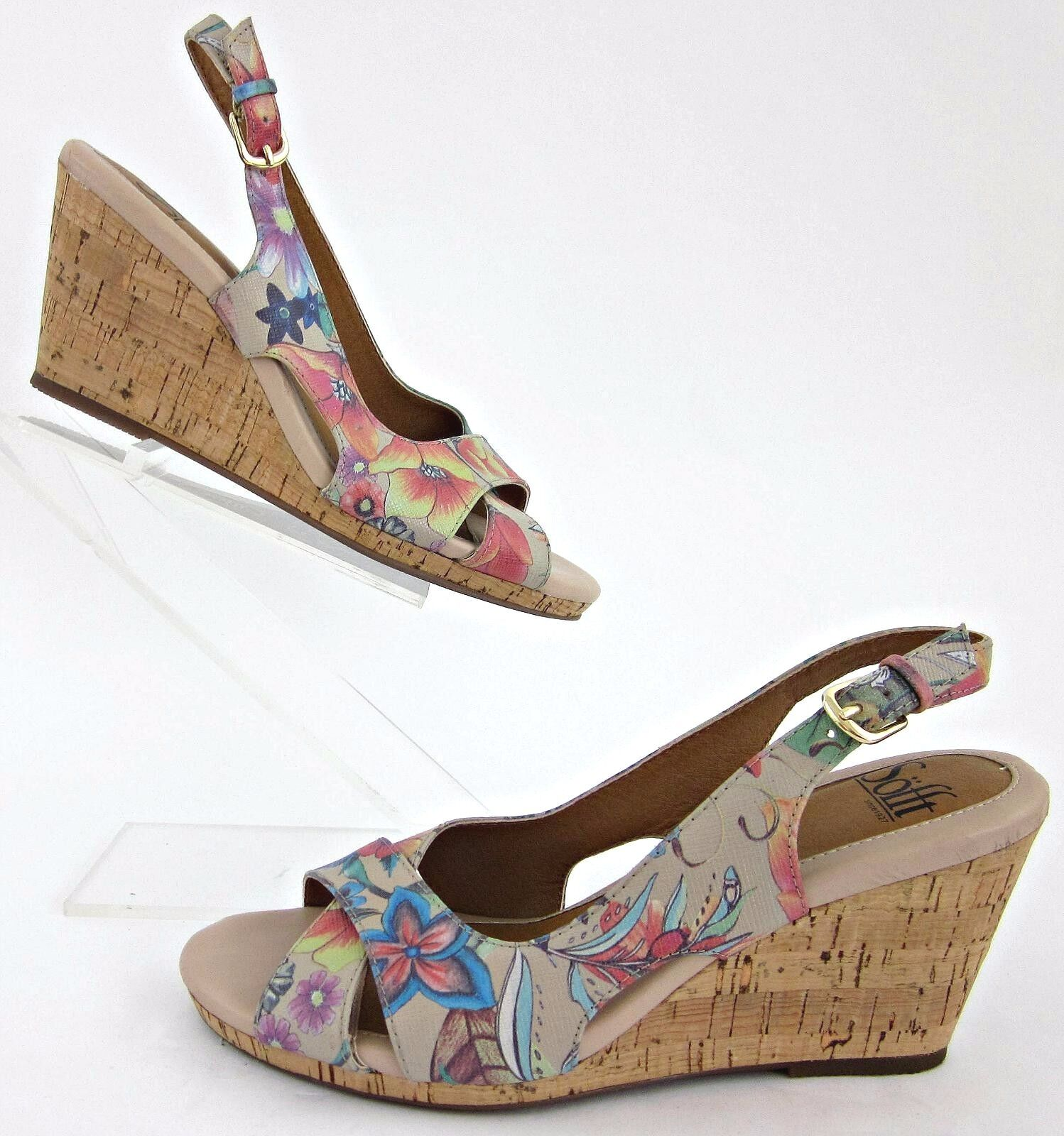Sofft Sofft Sofft 'Cailean' Floral Print Slingback Cork Wedge Sandales Sz 6 Worn Once e65403