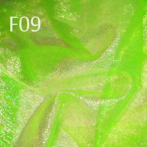 F01 PER YARD White w//Lime reflex Shiny Iridescent Crinkle Sheer Organza Fabric