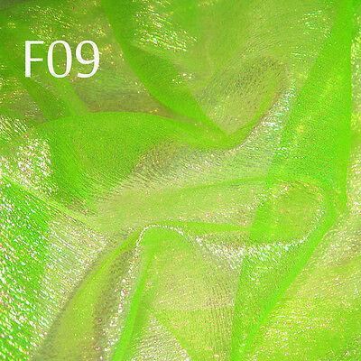 F09 PER YARD Lime Green reflex Shiny Iridescent Crinkle Sheer Organza Fabric