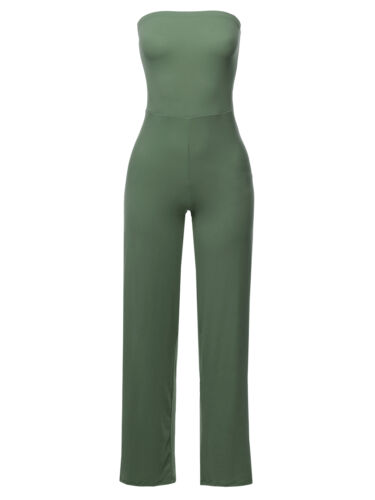 FashionOutfit Women/'s Casual Tube Strapless Stretchable Long Wide Leg Jumpsuit