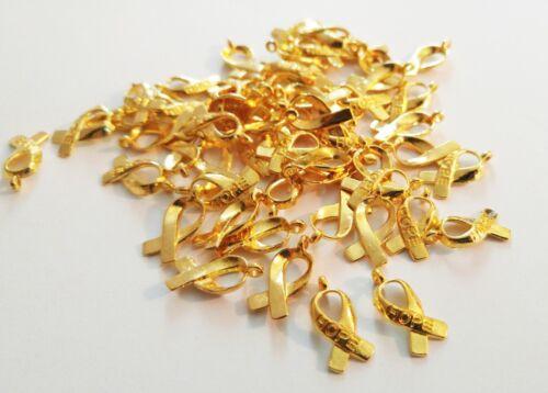 Cancer Awareness Charms Awareness Ribbon Pendants Large Lot 25//50//100 Gold