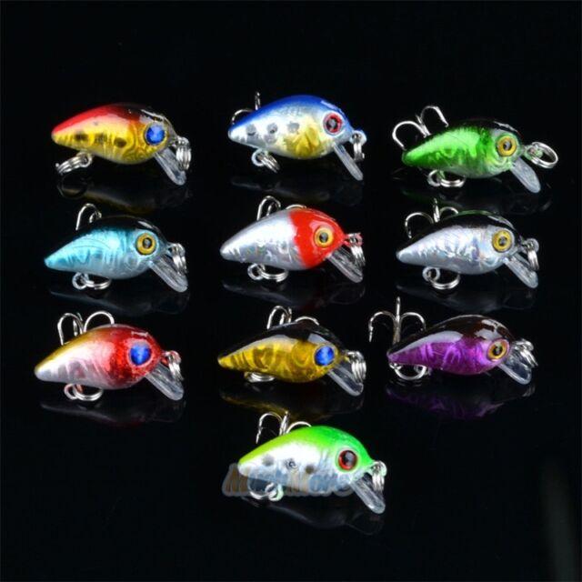 10pcs Fishing Lures Lot Minnow Fish Bass Tackle Hooks Bait Crankbait Wobbler