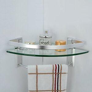 Image Is Loading Bathroom Glass Corner Shelf Towel Bar Wall Mount