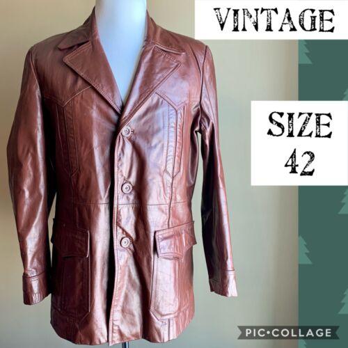 VTG BERMAN'S Mens Jacket 1970's Leather Blazer Win