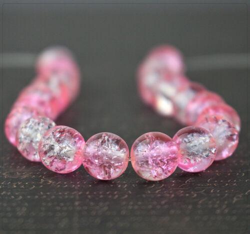 20x Crackle Crack Crash Glasperlen Perlen Beads Schmuck DIY Basteln rosa 8mm