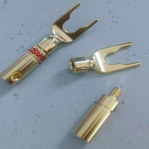 4x-24K-GOLD-PLATED-SOLDERLESS-SOLDER-FREE-AUDIO-CABLE-SPADE-CONNECTOR-PLUG
