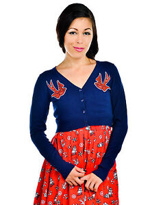 Banjo-amp-Cake-Too-Fast-Swallows-amp-Anchors-Nautical-Blue-Knitted-Cropped-Cardigan