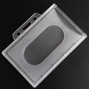 Porte-Badge-Carte-Format-Horizontal-Plastique-Rigide-Support-Etui-Card-ID-Holder