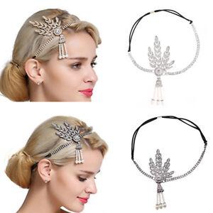 1920 s Headpiece Great Gatsby Flapper Headband Bridal Crystal Pearl ... 67571cb2986