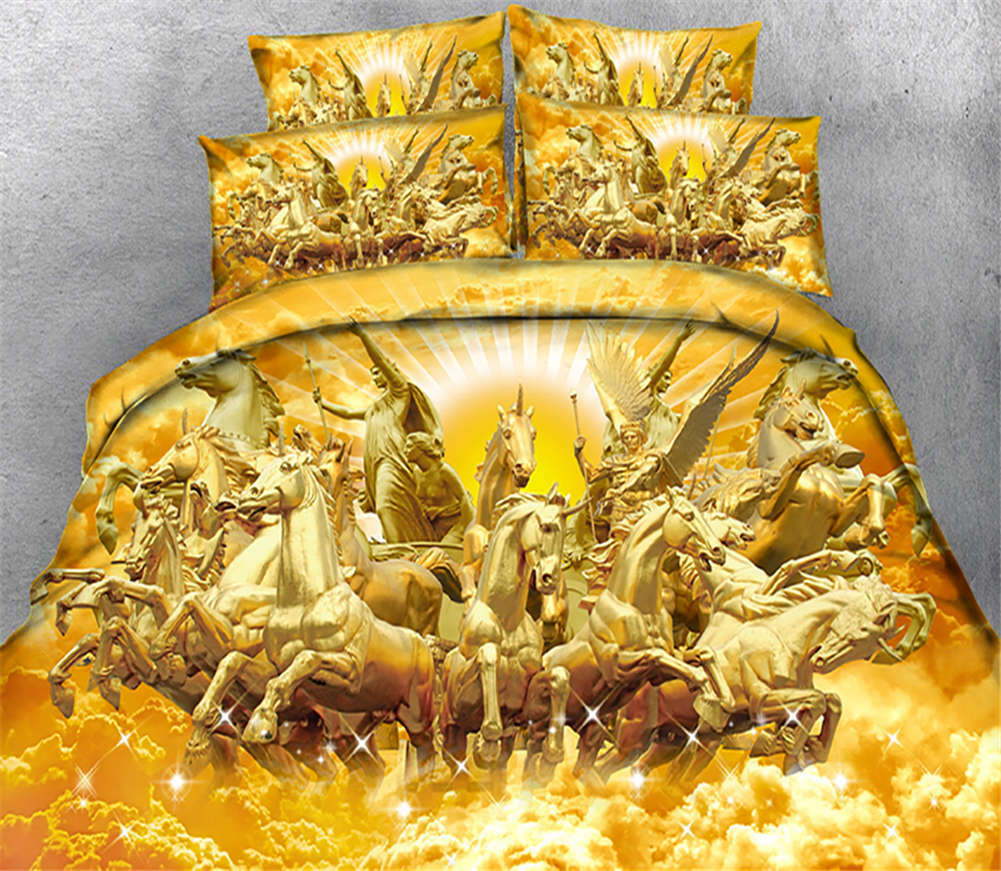 golden Bulky Tiger 3D Printing Duvet Quilt Doona Covers Pillow Case Bedding Sets
