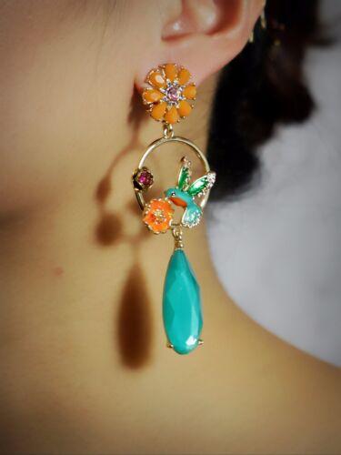 Boucles d/'Oreilles CLIP ON Doré Chandelier Goutte Vert Anneau Oiseau Orange X22