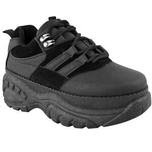 Platform Womens Shoes Buffalo Trainers Chunky Retro Black Sneakers nq6xwAYvq