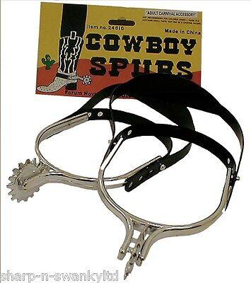 Da Uomo Cowboy Spurs Wild West Costume Vestito Accessorio-mostra Il Titolo Originale