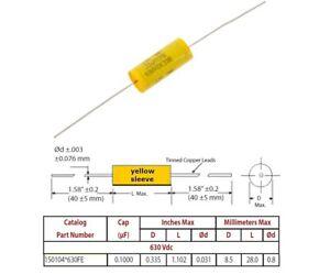 Mallory /'150/' 0,0047uF//630V condensatore poliestere assiale 150472J630BB