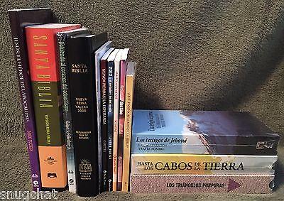 Bundle 13 Spanish Hispanic Espanol Mixed Media Items: 2 Bibles 8 Books 3 NIP VHS