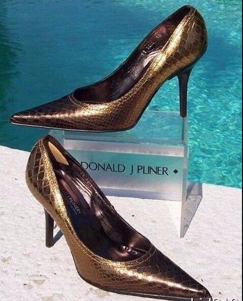 più economico Donald Pliner Couture Metallic Gator Leather scarpe scarpe scarpe New Pointy Toe Pump 6 7.5  295  promozioni eccitanti