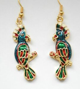 Image Is Loading Mardi Gras Parrot Earrings Dangling Fish Hook Gold
