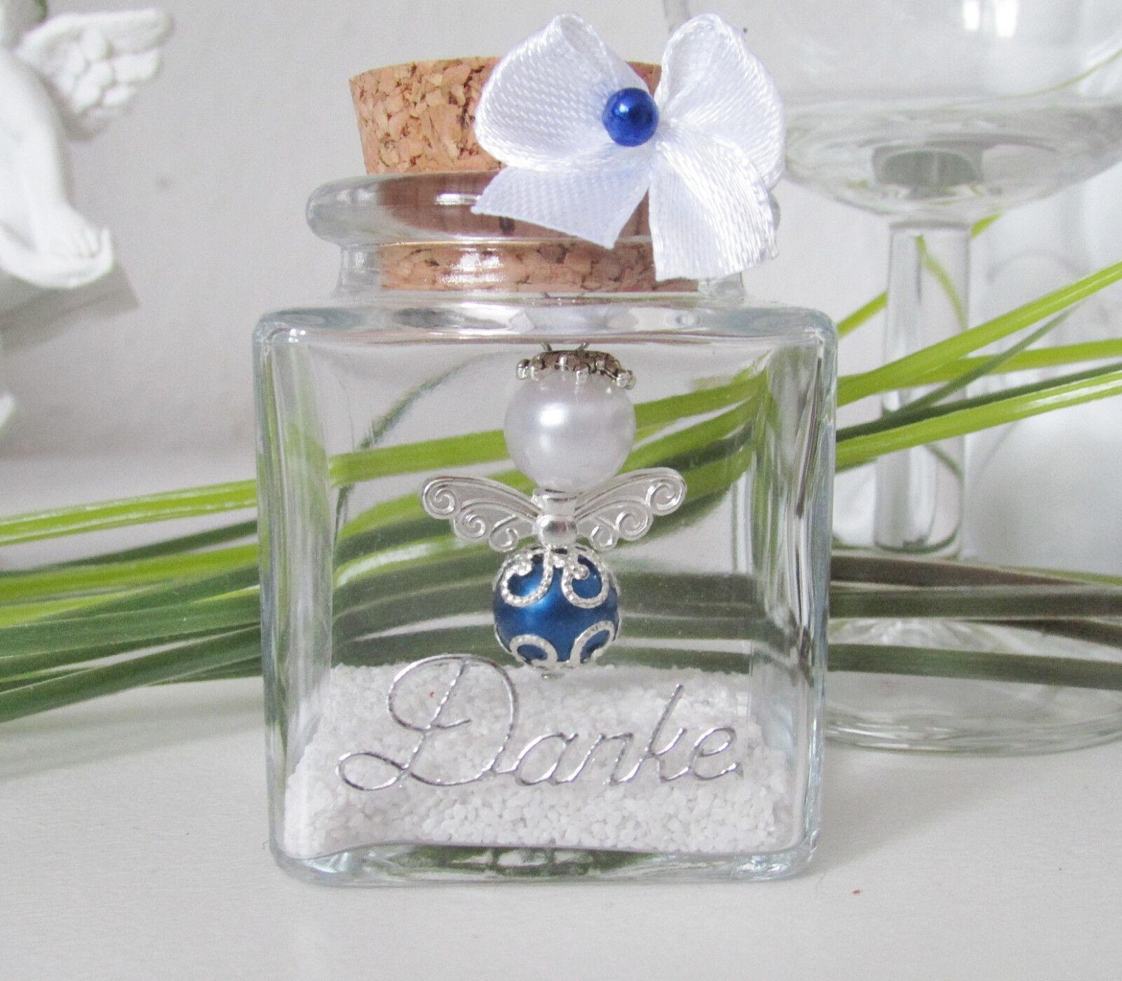 20-süsse -Blau-Weiss Schutzengel im Glas,Danke,Hochzeit