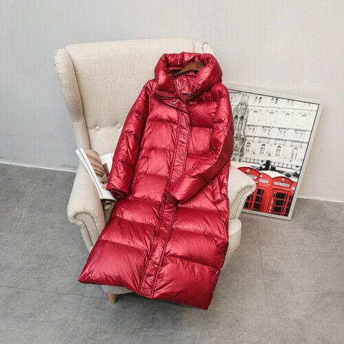 Les femmes Duck Down jacket long à capuche manteau gilet Parka Épaissir Matelassé Hiver