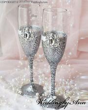 Personalized Wedding glasses, Toasting Flutes, Wedding glasses, Set of 2