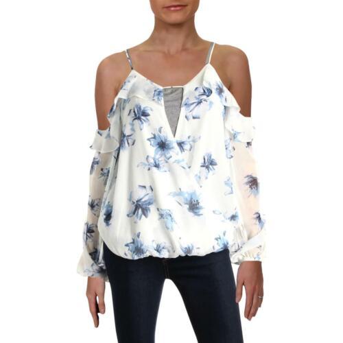 Aqua Womens White Cold Shoulder Blouson Surplice Pullover Top Blouse M BHFO 4267