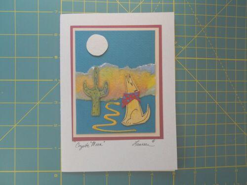 "/""Coyote Moon/"" Dimensional Blank Handmade Greeting Card"