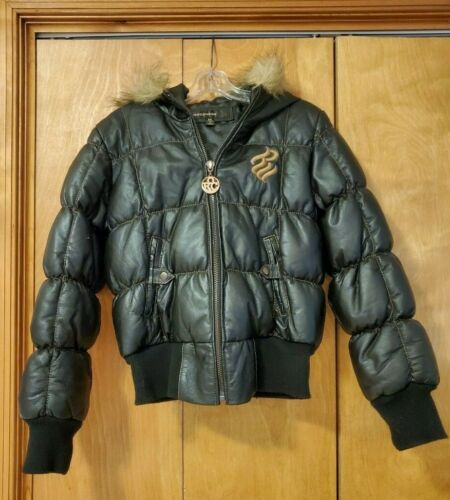 Rocawear Womens Black Puffer Duck Down 100 % Leath