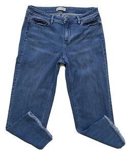 J-Jill-Women-s-Crop-Jeans-Size-10-Authentic-Fit-Straight-Leg-Fringe-Blue-Denim