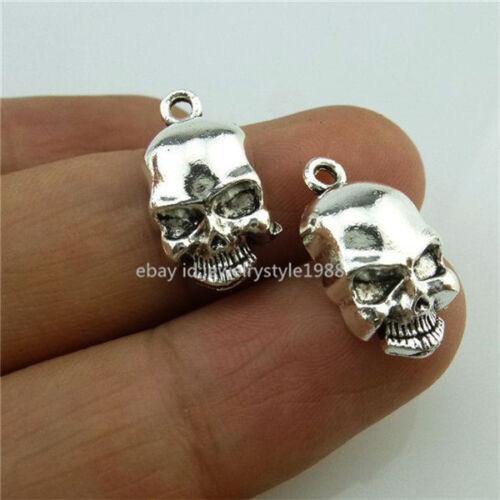 14198*30PCS Ghost Crâne Squelette Pendentif Argent Antique Charme Joli Bijoux Alliage