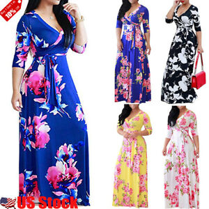 US-STOCK-WOMEN-039-S-V-NECK-WRAP-LONG-SLEEVE-FLORAL-PRINT-BOHO-MAXI-LONG-LOOSE-DRESS