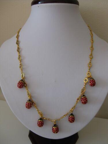 Joan Rivers Enameled Ladybug Necklace and Earrings