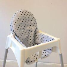"""Sitzkissen """"Sterne grau/schwarz"""" für Ikea Antilope Hochstuhl, u.v.m., 2-seitig"""
